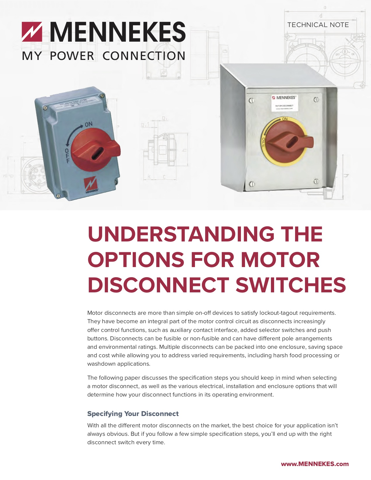 Understanding The Options For Motor Disconnect Switches Electrical Enclosures Basic Wiring Control Mennekes Wp Motordisconnects